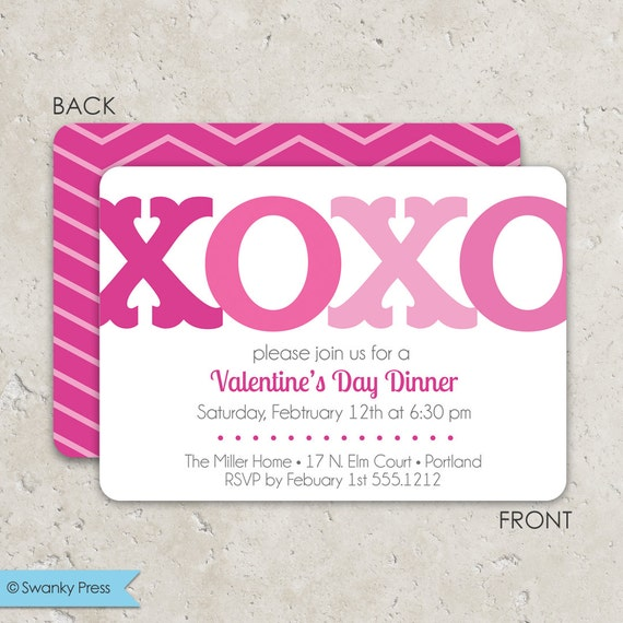 Valentine S Day Party Invitation Xoxo With Chevron Fun 2 Sided