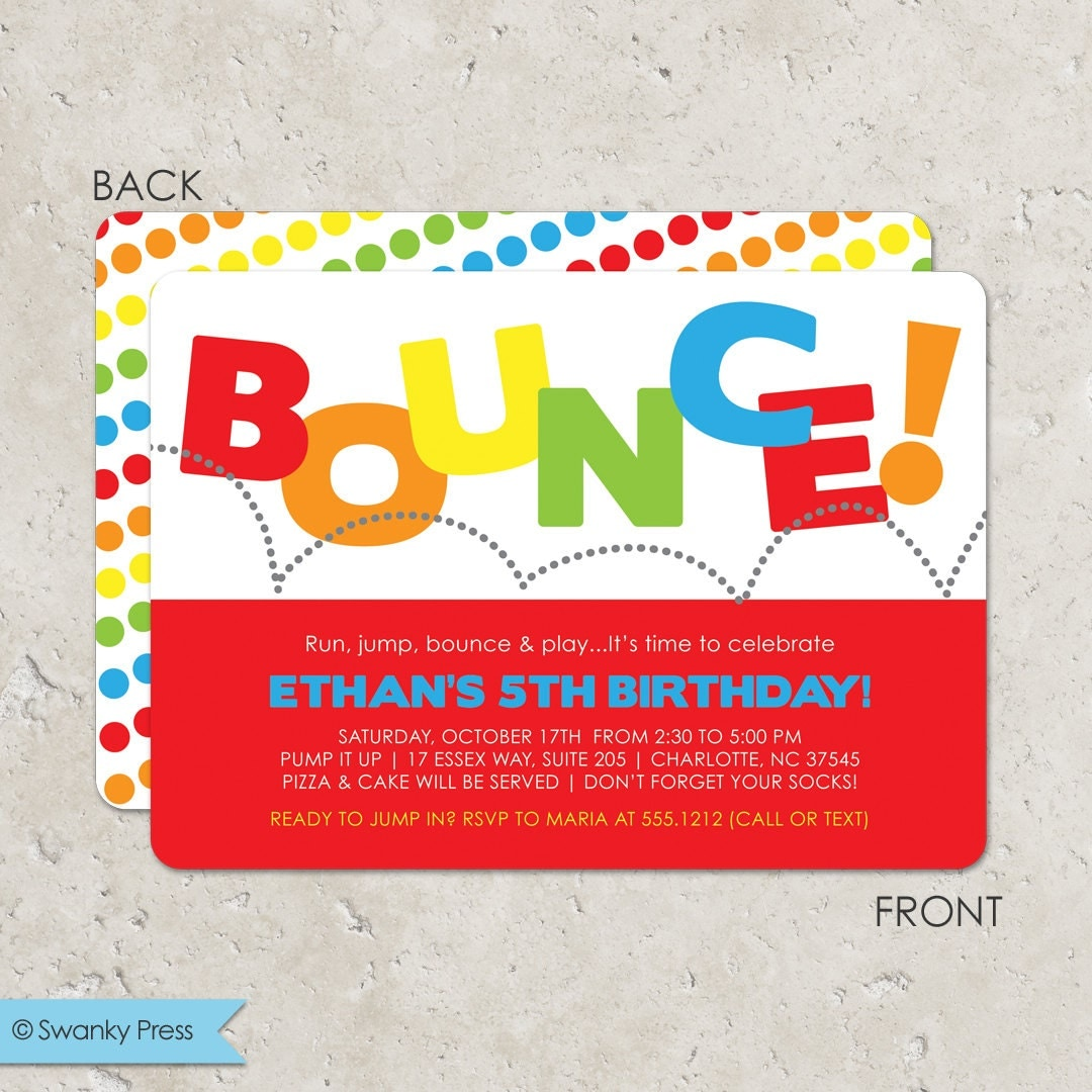 bounce house birthday party invitation pump it up party 128270zoom