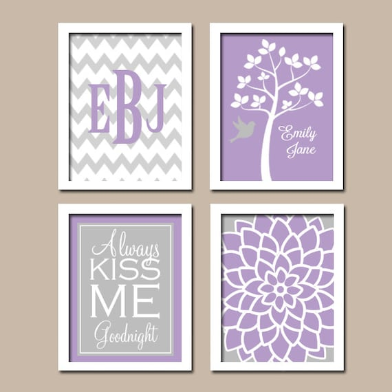 lavender gray wall art canvas or prints girl nursery by. Black Bedroom Furniture Sets. Home Design Ideas