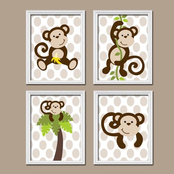 Monkey boy wall art canvas or prints monkey nursery by for Monkey bathroom ideas