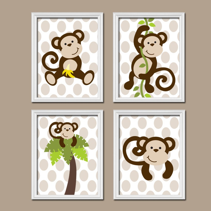 MONKEY Boy Wall Art CANVAS Or Prints MONKEY Nursery By TRMdesign
