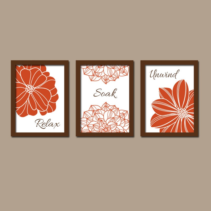 Bathroom Art Orange: Bathroom Decor Burnt Orange BATHROOM WALL Art CANVAS By