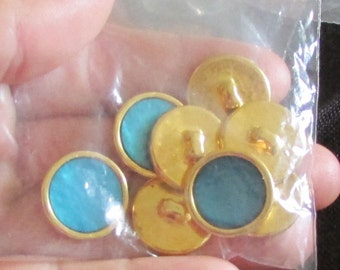 aquamarine buttons set of 8