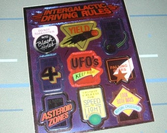 Vintage 80s Intergalactic Driving Rules Metallic Stickers Full Sheet