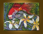 Goldfish -- Art Painting Original Painting -- Beauty in Red -- 22 x 28 inch Painting by Elizabeth Graf on Etsy