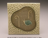 Snail & Fiddleheads- 6x6 ceramic tile-Ruchika Madan