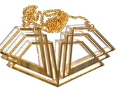 Gold Art Deco Necklace Laser Cut Mirror Acrylic Perspex on Gold Chain
