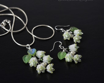Lily of the valley pendant earrings set