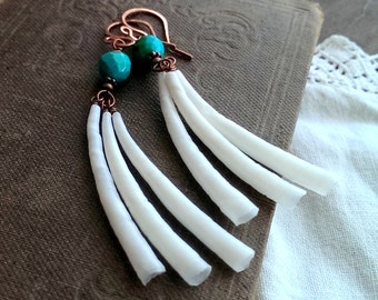 Turquoise and dentalium shell earrings - hand forged copper earrings