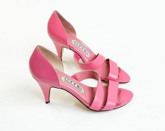 90s Vintage Bubble Gum Pink Sandal Heels / Size US 7 / EU 37.5 / UK 5