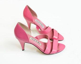 20% Off With Coupon Code! 90s Vintage Bubble Gum Pink Sandal Heels / Size US 7 / EU 37.5 / UK 5