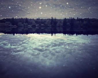 "Lake photography - starry night sky - surreal photograph - stars celestial - cloud reflection - dark indigo blue   ""Perfect Light"""