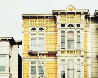 San Francisco wall art mustard yellow urban victorian architecture print goldenrod house windows 'Saffron House'