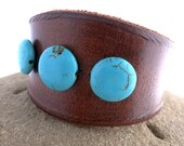 Women's Rawhide Leather Cuff Bracelet with Round Turquoise Colored Beads, Leather Jewelry, Leather Accessories