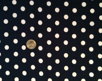 New white polka dots on navy baby cotton rib knit fabric 1 yd