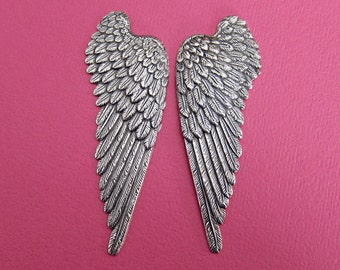NEW 2 Large Silver Wing Findings 3438