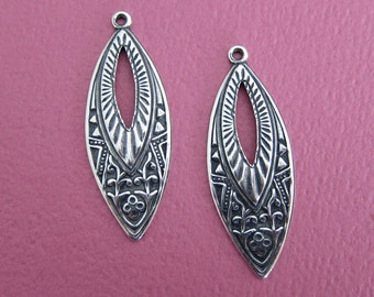 2 Silver Marquise Drop Charms 3429