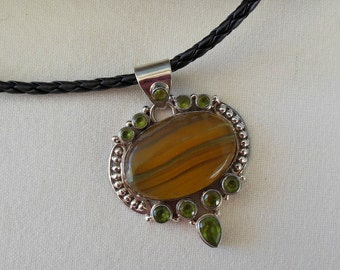 Bold Quartz and Peridot Sterling Silver Pendant Necklace