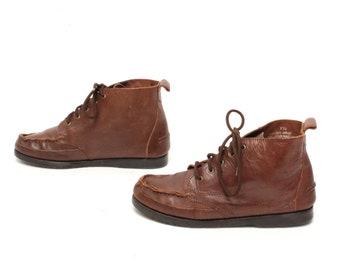 size 7.5 GRUNGE brown leather 80s 90s CHUKKA HIKING lace up ankle boots