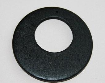 10pcs of Wood flat round beads 49mm with hole  Black