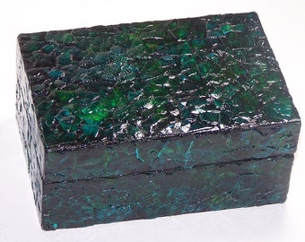 gorgeous finished wooden box, blue and green