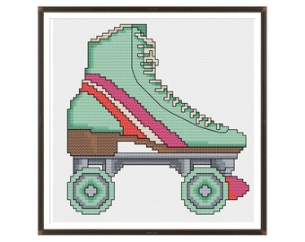 Retro Roller Skate Cross Stitch Pattern Instant Download