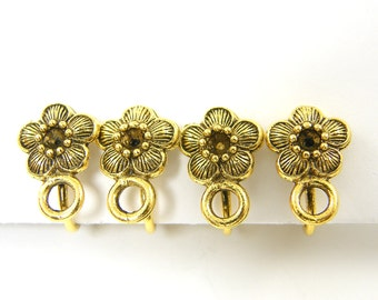 4 pcs Gold Clip on Earring Finding, Small Flower Antique Gold Non Pierced Earring |Q1-2|4
