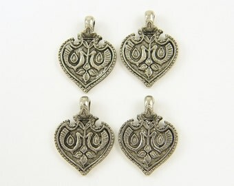 Ornate Antique Silver Pendant, Tribal Carved Detailed Peacock Moroccan Jewelry |Q3-4|4