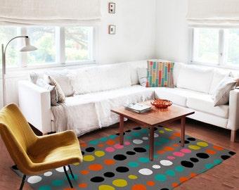 Decorative Rug, colorful modern rug, original carpet, dots carpet, modern decor, contemporary rug, living room, scandinavian design