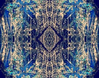 Labradorite Mineral Diamond Photograph geometric, psychedelic kaleidoscope, trippy, psy art, cobalt blue vibrant colorful wall art decor