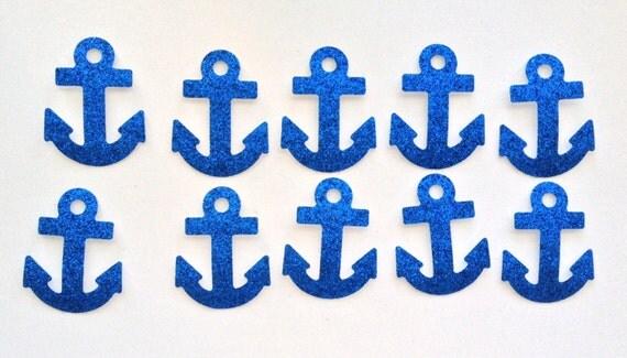 Blue Glitter Anchor Die Cut STICKERS - Embellishments Nautical Navy Sailor Sea Beach Ocean Boat - Art Craft Scrapbook Greeting Card Collage