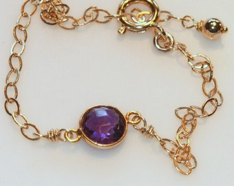 Amethyst Bracelet, 14k Gold Fill, February Birthstone, Purple Amethyst, Gold Vermeil Bracelet, 7.5 inches Bracelet by Maggie McMane Designs