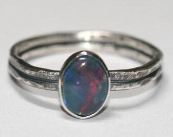 Opal Ring, Australian Opal Ring, Blue Opal, October Birthstone, Boho Opal Ring, Size 6 Ring, Opal Ring For Women by Maggie McMane Designs
