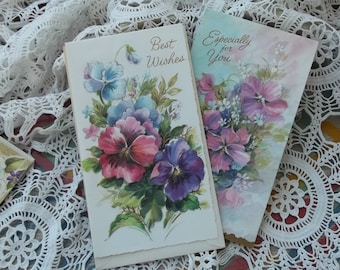 2 Unused Vintage 1960s Embossed Religious Spiritual Get Well Cards Pansies Instant Collection Ephemera Destash Great Scrapbook Supplies