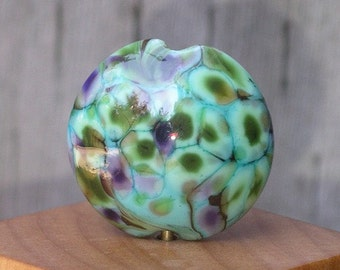 Handmade Glass Lampwork Bead Focal - Turquoise Sea Garden Lentil