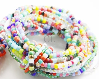 Multi-Strand Glass Bead and Crystal Bracelet - multiple strands of brightly coloured beads stung on elastic (B20)