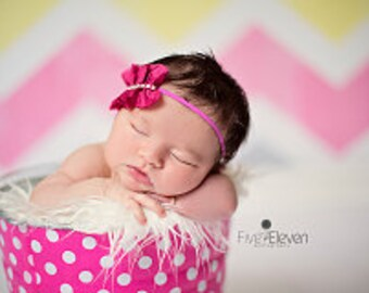 Candy Pink and White Polka Dots Newborn Baby Girl Photo Prop Galvanized Bucket