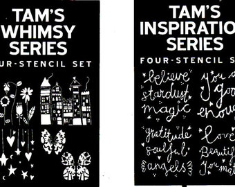 Two Sets of Artistcellar Signature Series Stencils designed by Tamara Laporte
