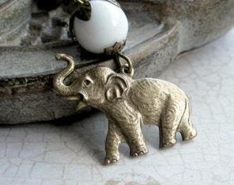 Elephant necklace, brass charm, womens gift, white glass beads, brass chain, wildlife animal necklace