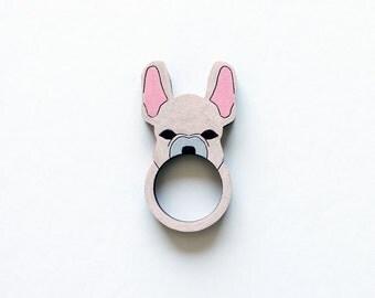 French Bulldog Wooden Ring