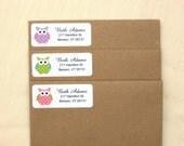 Owl Return Address Labels - 90 Labels - 3 Colors!