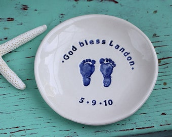 Baby's Baptism Celebration Dish, Personalized Baby Dish, Custom Baby Dish with Name and Design