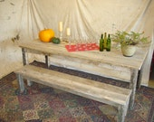 "Duffs Driftwood Bench (84 x 15 x 17H) For 96"" Table or 84""Trestle"