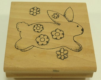 Rabbit With Flowers Wood Mounted Rubber Stamp