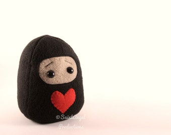 Valentine Ninja Plushie with Red Heart, MADE TO ORDER