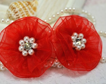 NEW! Handmade Organza flower with rhinestone and pearls--red (FB1023)