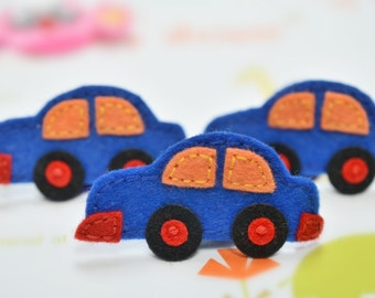 NEW! 6pcs handmade felt Cars--royal (FT724)