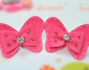 New! Set of 6pcs handmade felt bow with rhinestone--dark carnation (FT1021)