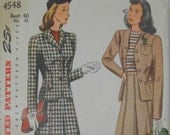 Vintage 1943 Pleated Skirt 2 Piece Suit Pattern Simplicity 4548 Bust 40