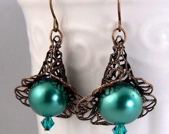 Teal Pearl Earrings, Antique Bronze Calla Lily Dangles, Vintage Filigree Petal Earrings, Teal Crystal Drops, Rustic Earring Dangles (3477)